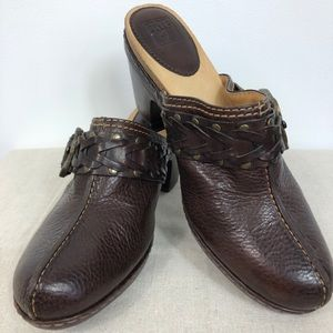 Frye Candice Clogs Woven Leather Mules